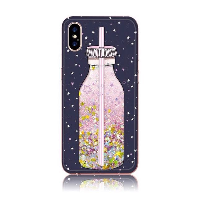 iPhone X Cute Girly Pink Liquid Glitter Soft Case (Milk Bottle)