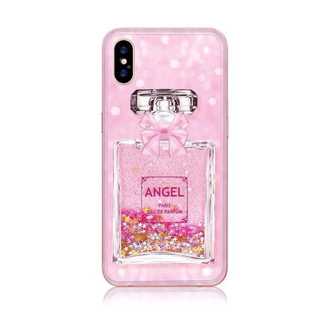 iPhone X Cute Girly Pink Liquid Glitter Soft Case (Perfume)
