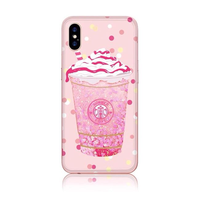 iPhone X Cute Girly Pink Liquid Glitter Soft Case (Starbucks Drink)