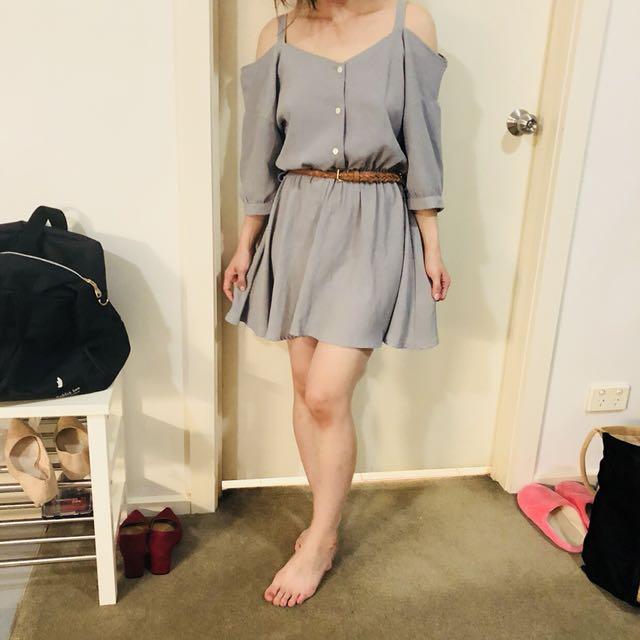 Light grey dress with belt.