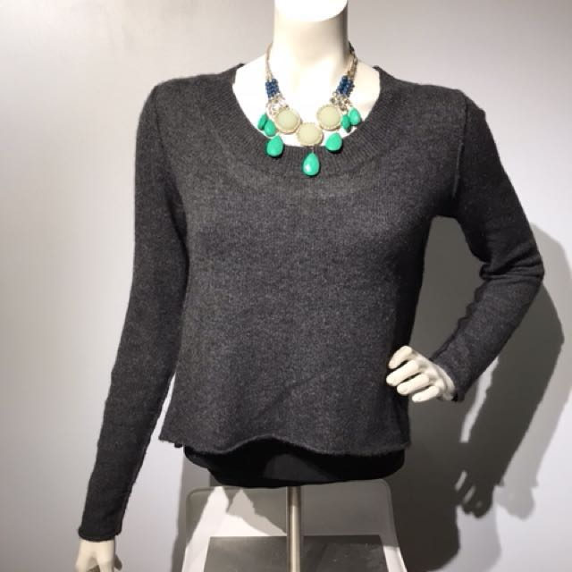 Line Hi-Lo Cropped Sweater Top - 100% cashmere - Small