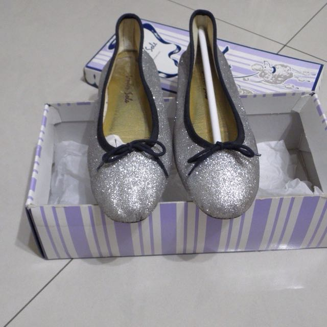 London sole 銀色 黑邊 亮粉 平底鞋 娃娃鞋