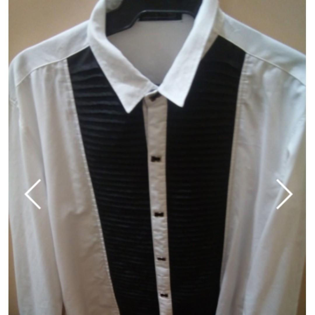 Long Sleeves Black White Polo Dress Shirt