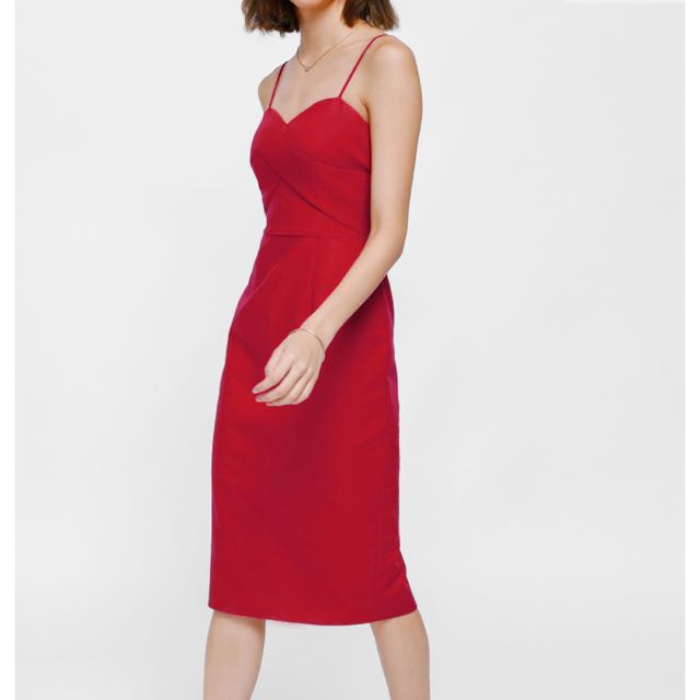 Love bonito Geordie Midi bustier red dress