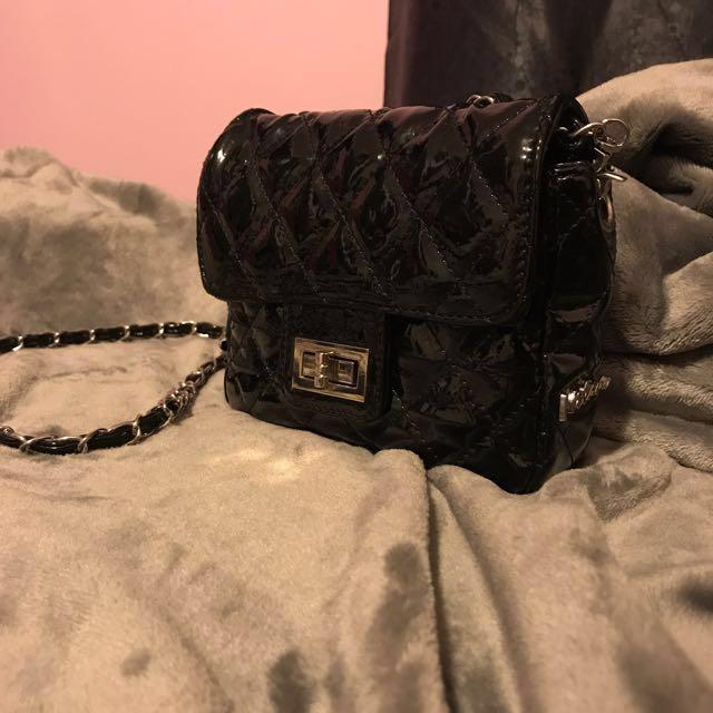 Mini Milano Black Glossy Quilted Handbag
