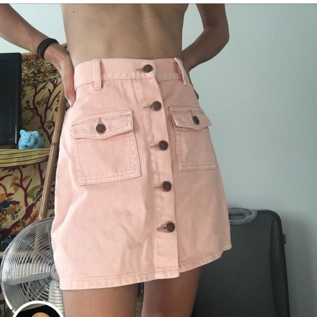 Peach denim skirt