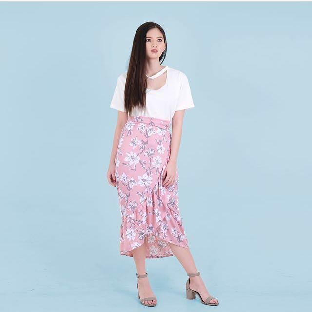 Pink Floral Wrap Ruffled Skirt