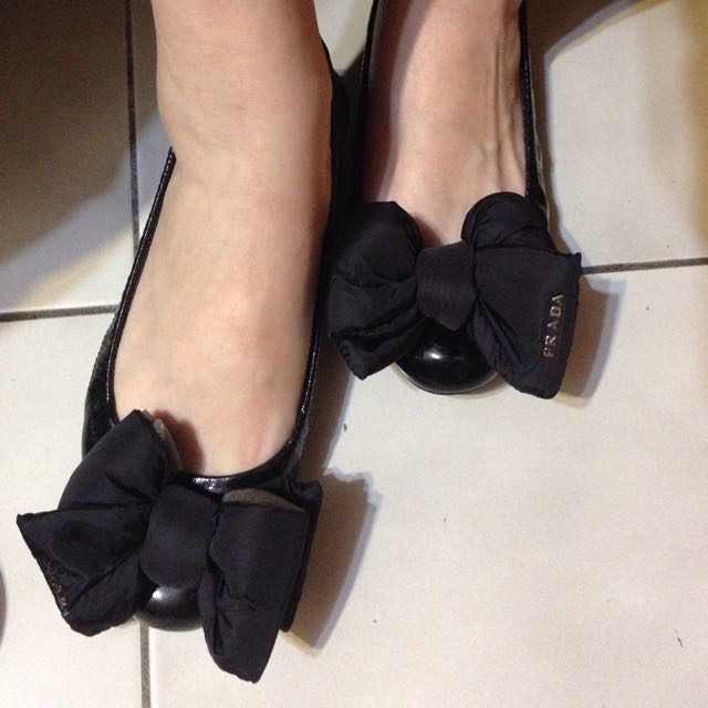 Prada 黑色 蝴蝶結 娃娃鞋 平底鞋