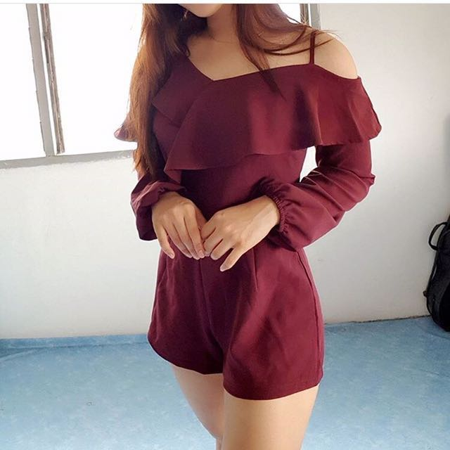 Red/Maroon Irregular Off Shoulder Romper