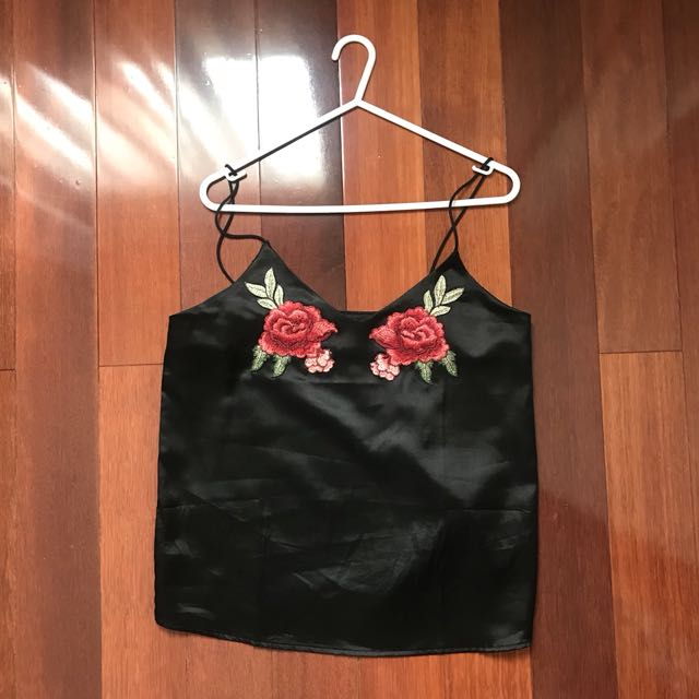 Rose embroidery black cami top