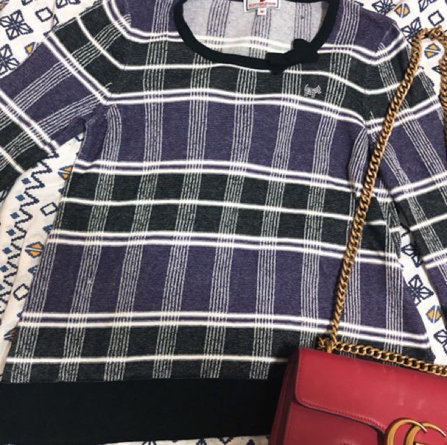 品牌Scottish house 紫格紋針織上衣❤️