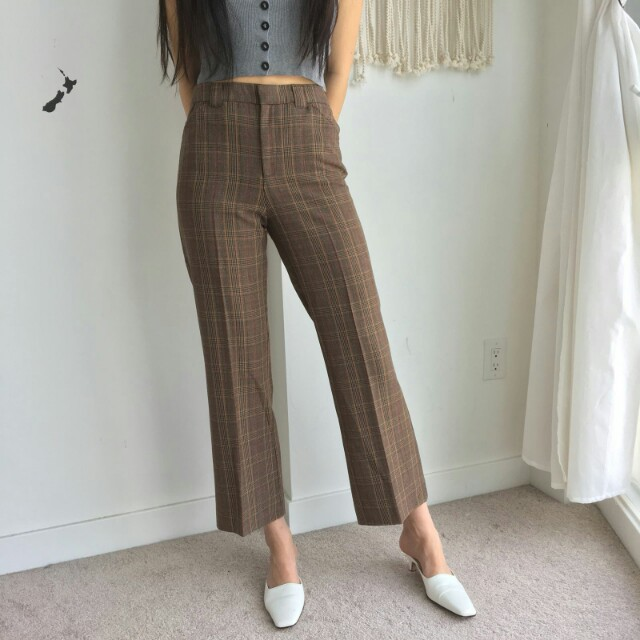 See by Chloé plaid highwaisted trousers