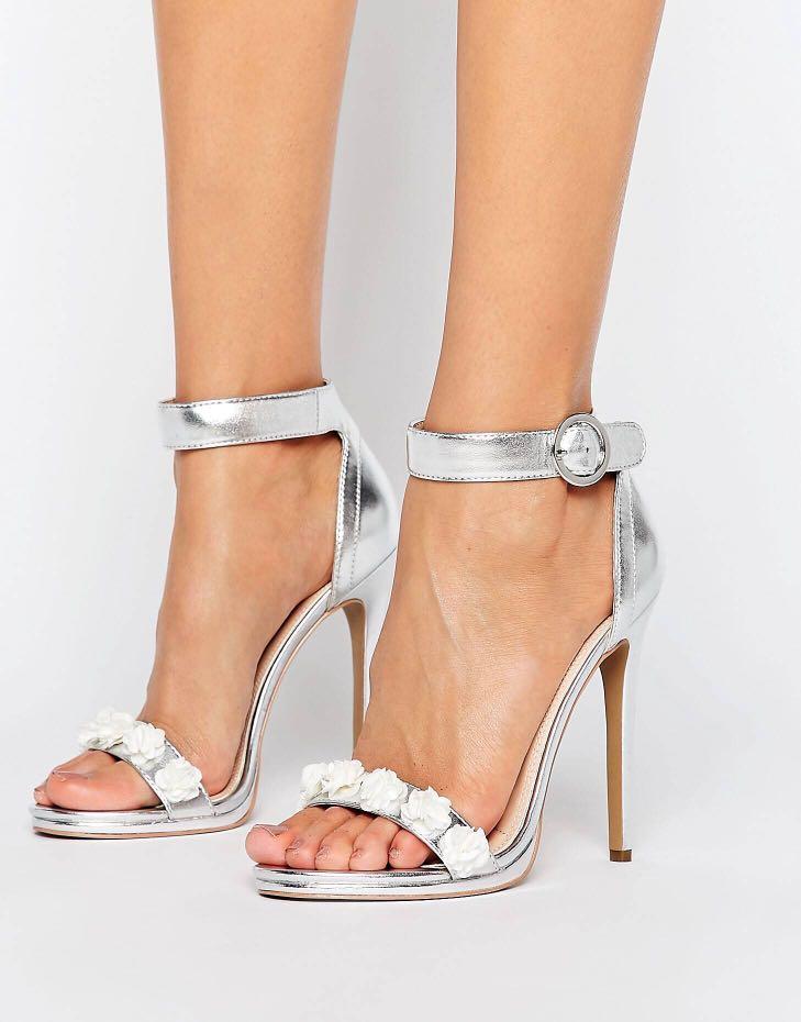Silver flower heels