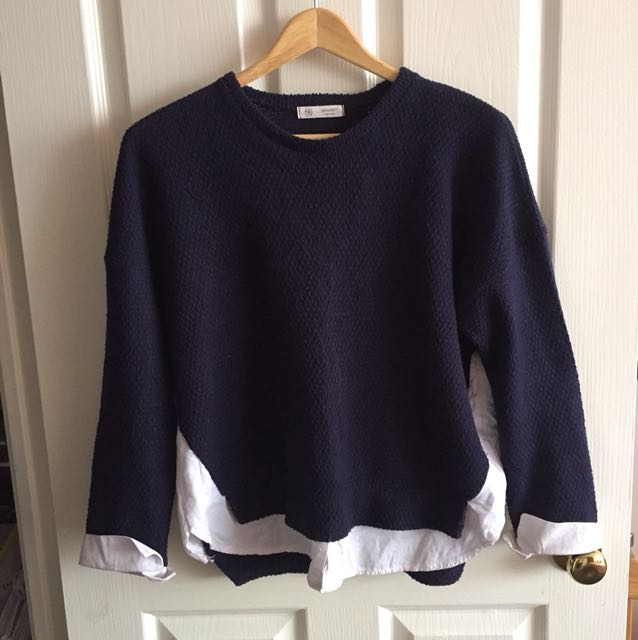 Simple navy blue blouse and sweater set