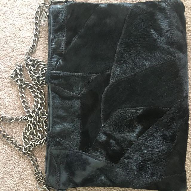 SPORTSGIRL black leather cowhide clutch hip bag