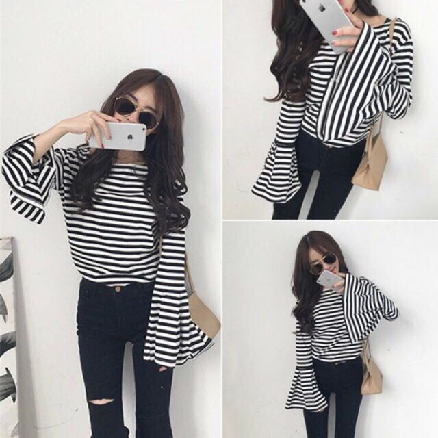 Stripes Ruffle Top