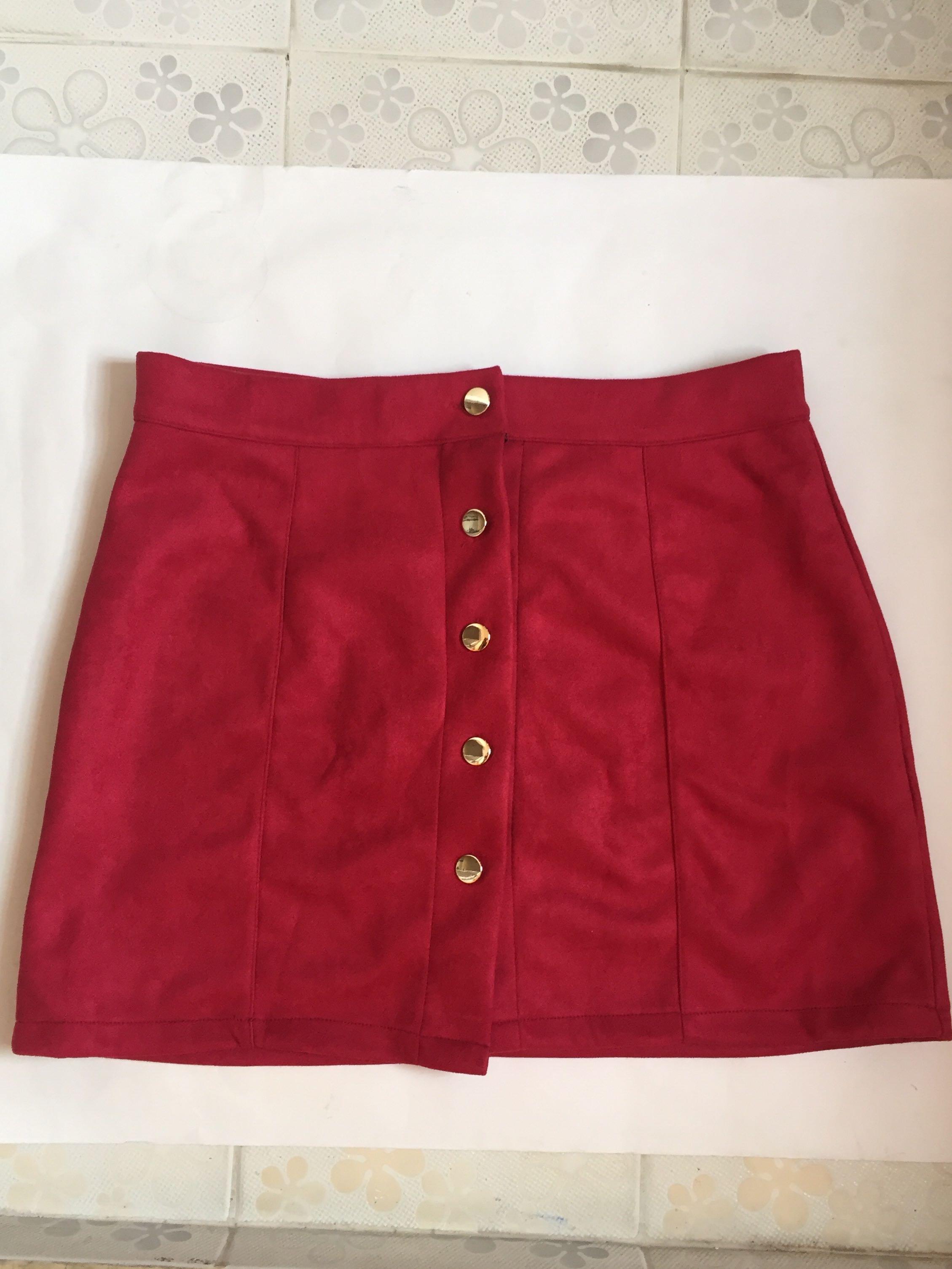 Suede Button Skirt Maroon
