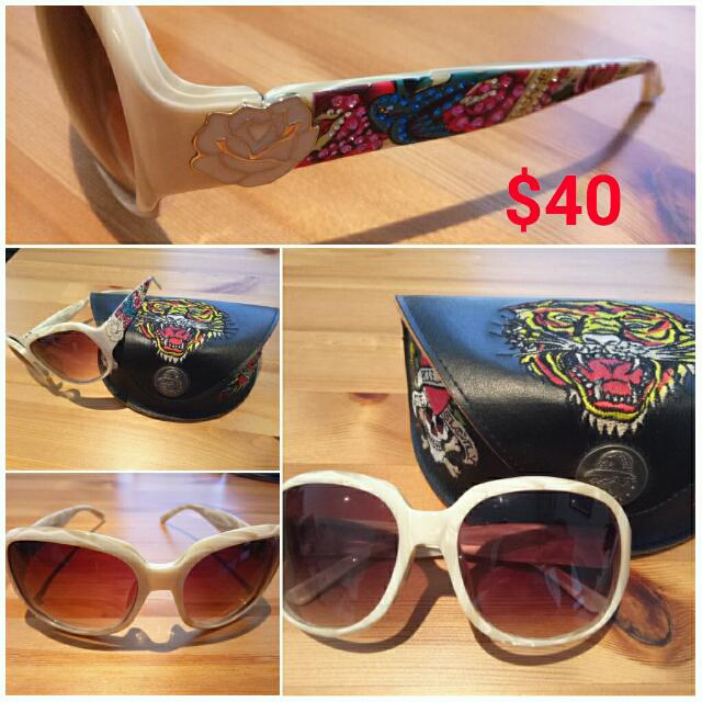 sunglasses EdHardy BIRD white / brown