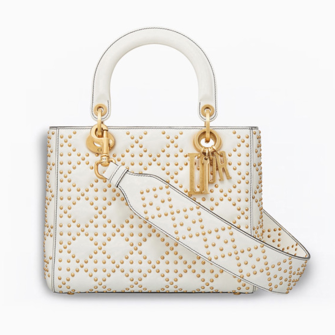 Supple Lady Dior in Off-White Studded Calfskin e04f5f219753a