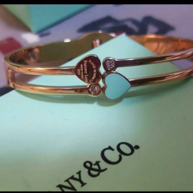 Tiffany & Co blue heart and diamond bangle bracelet jewellery