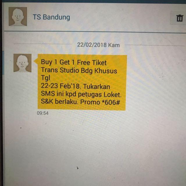 tiker Transtudio bandung buy 1 get 1 untuk tgl 23 hari ini