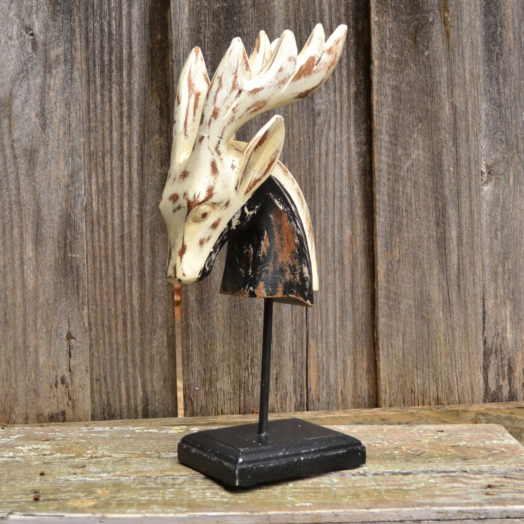 Timber Black and White Distressed Deer Bust Statue on Stand