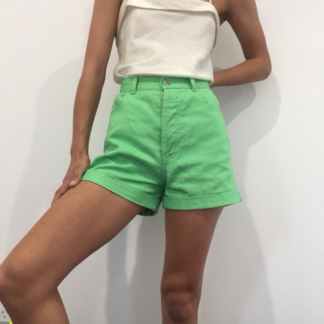 Vintage green denim shorts