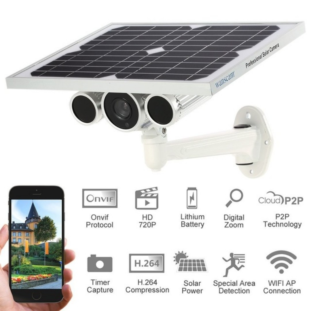 W anscam 720 point solar power security camera surveillance motion detector  Onvif wireless Wifi outdoor IP camera supports 3 g / 4 g SIM