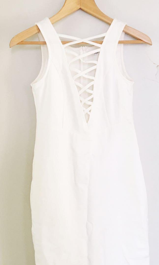 White Fitted V Neck Criss Cross Dress