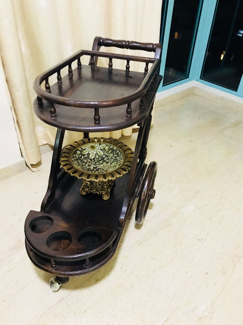 Wooden decorative trolley