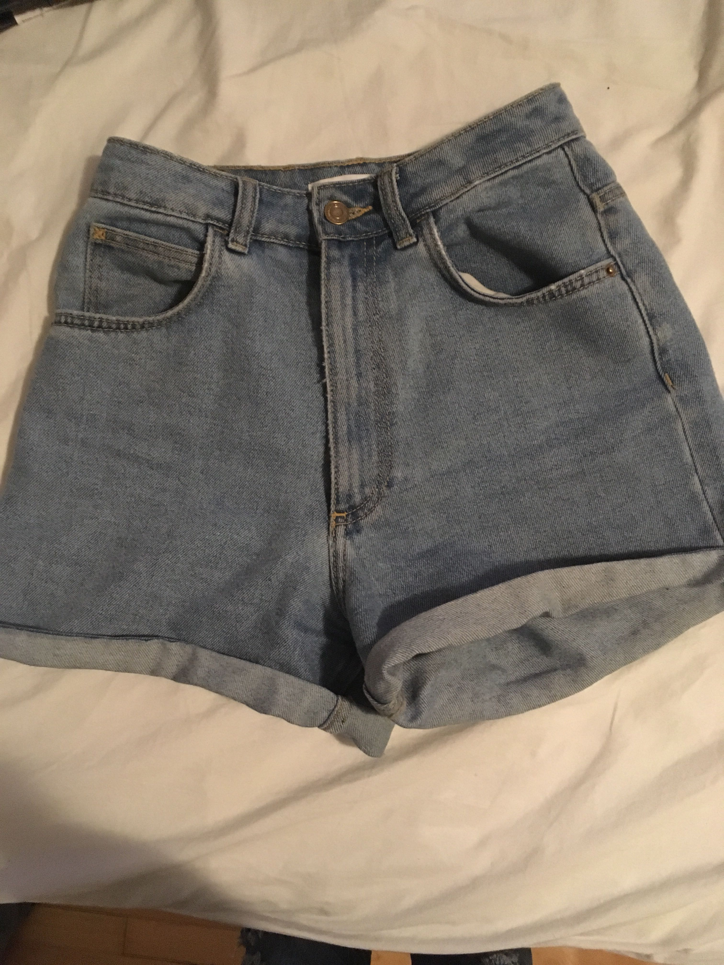 Zara high-waisted jean shorts