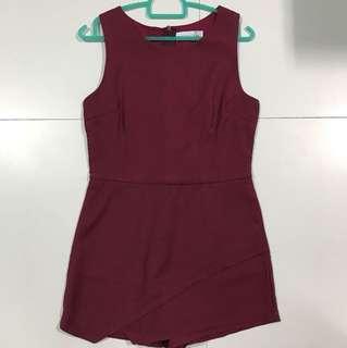 whitefiction Maroon burgundy origami skorts foldover Romper jumpsuit playsuit