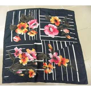 Black & Floral Scarf