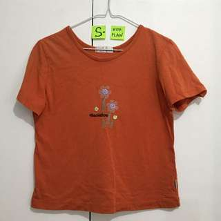 🌸Orange Cropped Tee - with flaw/see 2nd pic