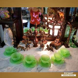 1950s Green Jadeite cups. Good Condition. $48 for 6 sets, sms 96337309.