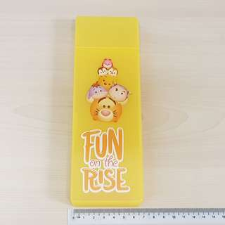 Disney Tsum Tsum Yellow Pooh and Friend + Chip & Dale + Buzz Lightyear Plastic Stationery Pencil Case