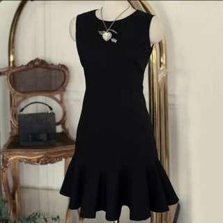 Black Shift Ruffle Dress