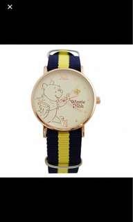 Disney 系列 英倫風格帆布錶帶搭配玫金錶框- 小熊維尼
