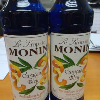 2 Bottles of MONIN Curacao Blue Syrups