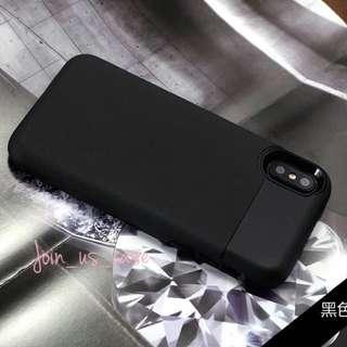 iPhone X 磨砂全包硬殻佩載卡格(黑/銀色)