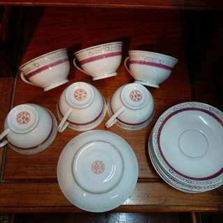 江西景德鎮(圓印)茶杯&碟6套