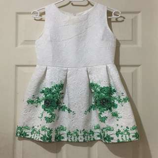 Embossed Dress with Green Floral Design