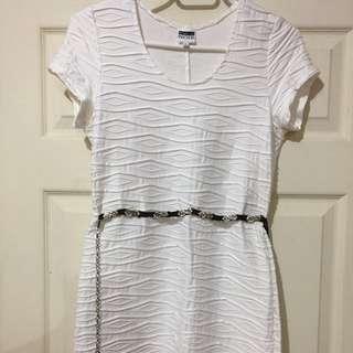 Blanc Noir White Embossed Dress