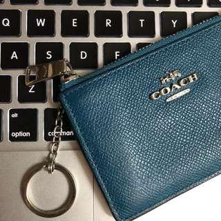 coach key pouch 藍綠色