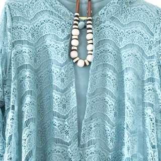 Gamis/dress turquois lace/brokat