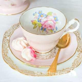 Pretty pink and gold vintage English bone china tea trio, mix and match tea set