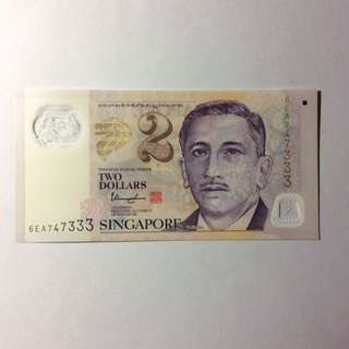 6EA747333 Singapore Portrait Series $2 note.