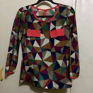 Multicolored Long sleeves Blouse