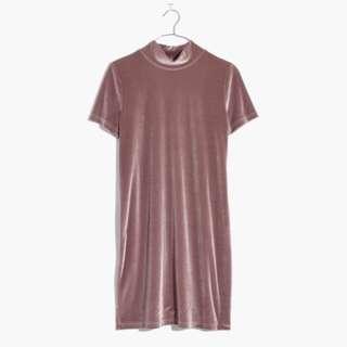 Madewell mauve velvet dress