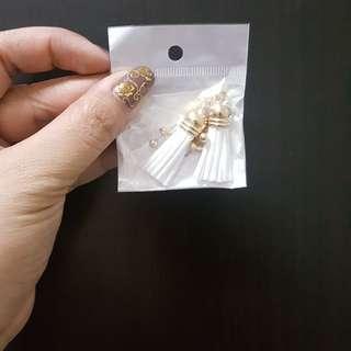 Gold Tassel Earring in White